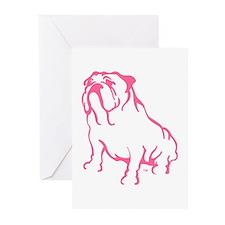 Bulldog Logo Pink Greeting Cards (Pk of 10)