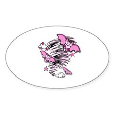 BATTY ABOUT PINK Oval Decal