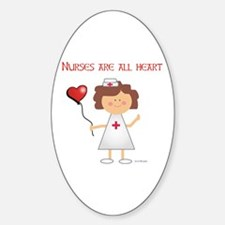 NURSES ARE ALL HEART Oval Decal