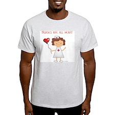 NURSES ARE ALL HEART Ash Grey T-Shirt