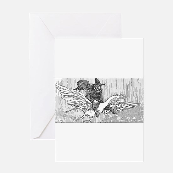 Mother Goose flying Greeting Card