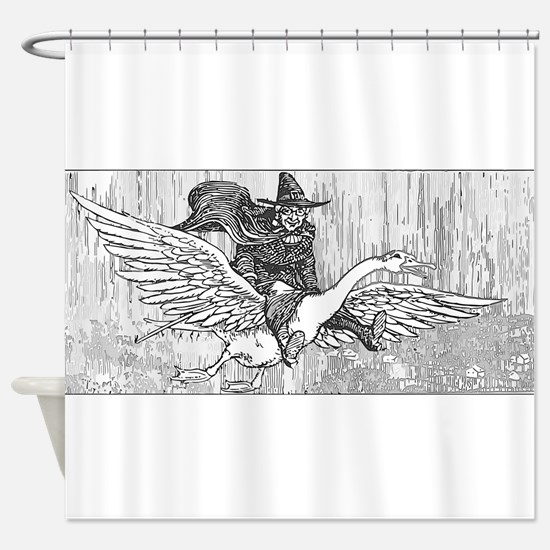 Mother Goose flying Shower Curtain