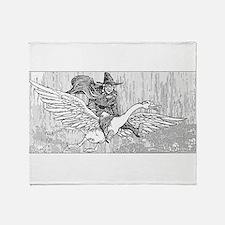 Mother Goose flying Throw Blanket