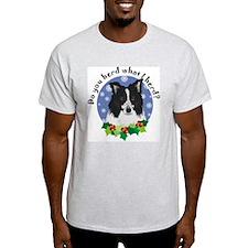 Border Collie Christmas Ash Grey T-Shirt
