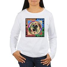 Siamese Kitty Cat Graphics Long Sleeve T-Shirt