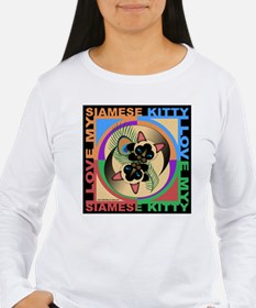 Siamese Kitty Cat Graphics Long Sleeve T-Shirt