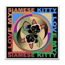 Siamese Kitty Cat Graphics Tile Coaster
