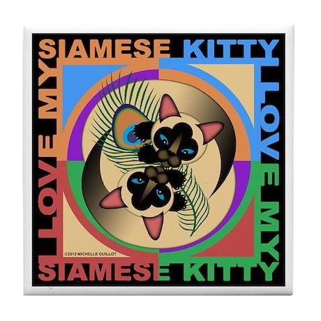 Siamese Kitty Cat Graphics Tile Coaster