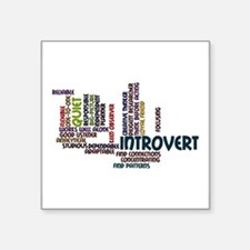 """Introvert Strengths Word Cloud 2 Square Sticker 3"""""""