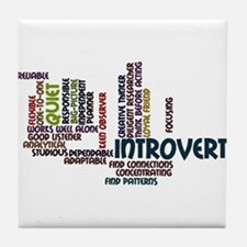 Introvert Strengths Word Cloud 2 Tile Coaster