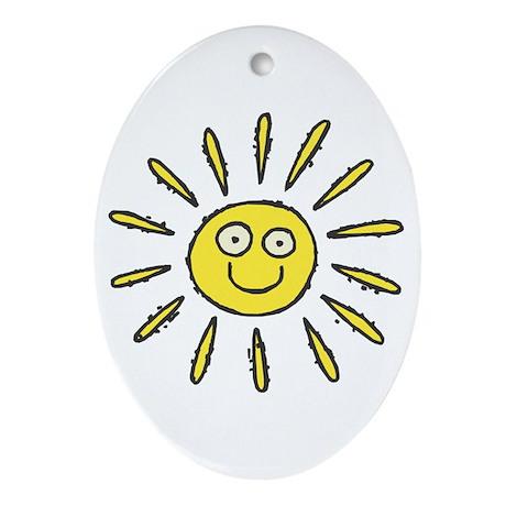 Happy Sun Oval Ornament
