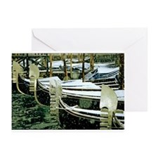 Gondolas in the Snow in Venic Greeting Cards (Pack
