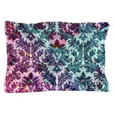 Damask pattern on pink and blue Pillow Case