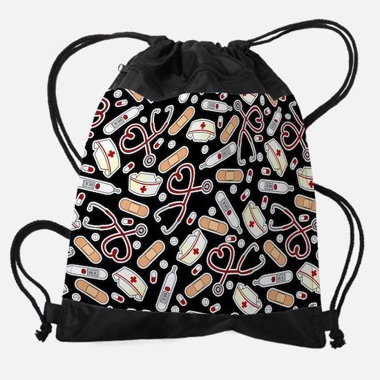 Cute Nurse Love Pattern Black Drawstring Bag