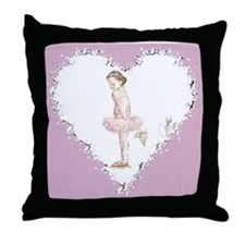 Little Ballerina with Rose in Heart Throw Pillow