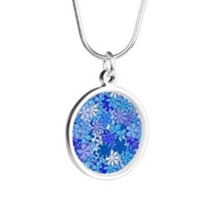 Groovy Blue Flowers Silver Round Necklace