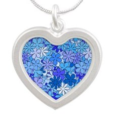 Groovy Blue Flowers Silver Heart Necklace