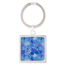 Groovy Blue Flowers Square Keychain
