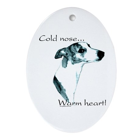 Whippet Warm Heart Oval Ornament