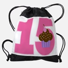 15th Birthday Cupcake Drawstring Bag