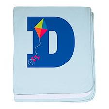 Letter D Kite Monogram Initial D baby blanket