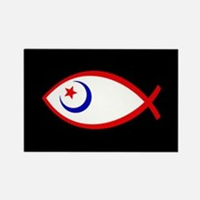 Patriotic Ichthus Fish Rectangle Magnet