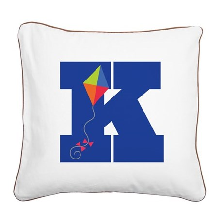 Letter K Kite Monogram Initial K Square Canvas Pil