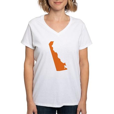 Delaware State Shape Outlin Women's V-Neck T-Shirt