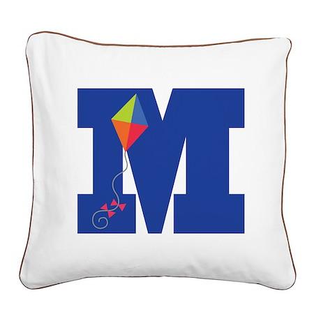 Letter M Kite Monogram Initial M Square Canvas Pil