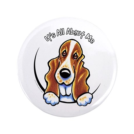 "Basset Hound IAAM 3.5"" Button"