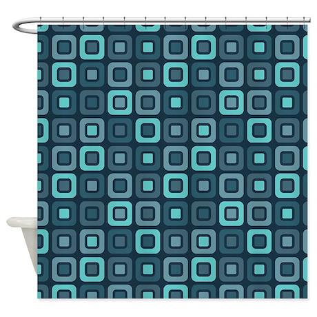 Dark Teal Retro Squares Pattern Shower Curtain By ZandiepantsHomeDecor