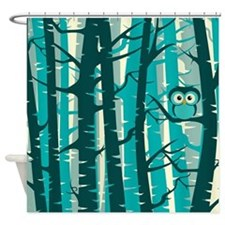 Forest with Owl Shower Curtain