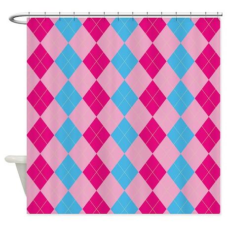 Pink And Blue Argyle Shower Curtain By ZandiepantsHomeDecor