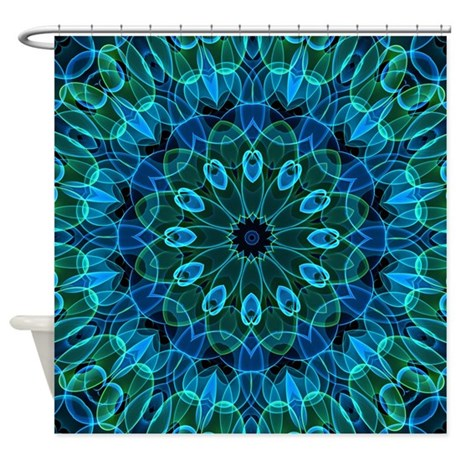 Blue And Green Gems Shower Curtain By Zandiepantshomedecor
