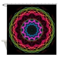 Neon Rainbow Star kaleidoscope Shower Curtain