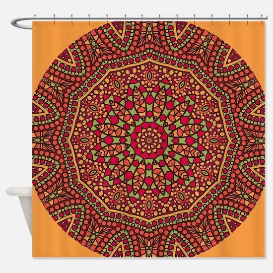 Red Mosaic Tiles kaleidoscope Shower Curtain