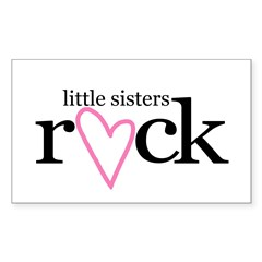Little sisters rock (heart) Rectangle Decal