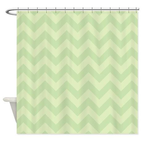 Light Green Zigzag Shower Curtain By Zandiepantshomedecor
