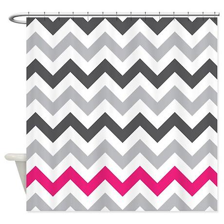 Grey Zig Zag With Hot Pink Shower Curtain By Zandiepantshomedecor