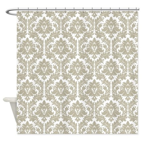 Burlap Beige Damask Shower Curtain By ZandiepantsHomeDecor