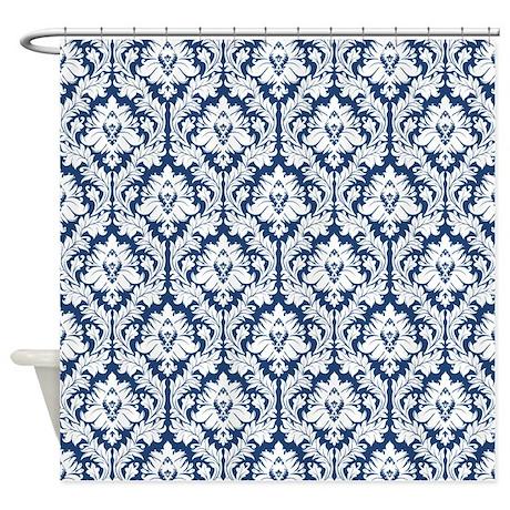 dark blue damask shower curtain by zandiepantshomedecor. Black Bedroom Furniture Sets. Home Design Ideas