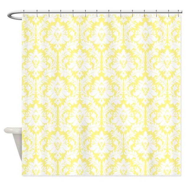 light yellow damask shower curtain by zandiepantshomedecor. Black Bedroom Furniture Sets. Home Design Ideas