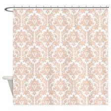 Linen Bege Damask Shower Curtain