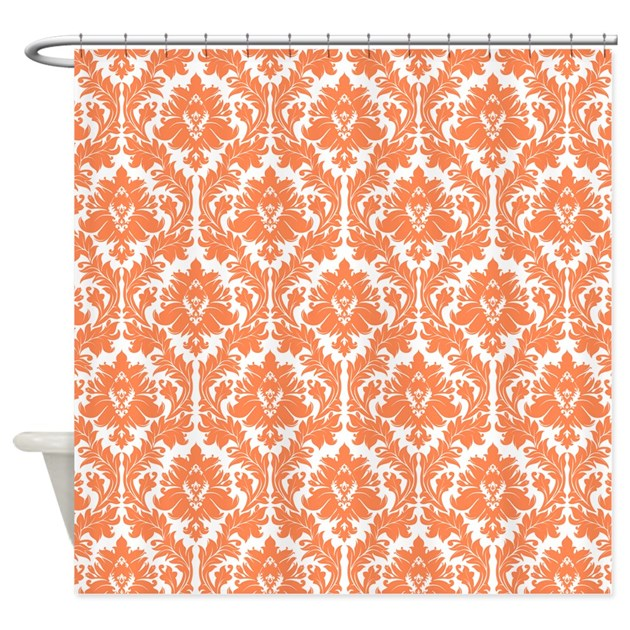 Nectarine orange damask shower curtain by zandiepantshomedecor