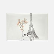 Eiffel Tower with Table and Blossom Tree in Pink R