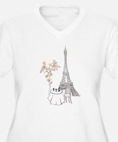 Eiffel Tower with Table and Blossom Tree in Pink P