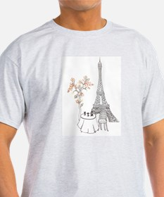 Eiffel Tower with Table and Blossom Tree in Pink T