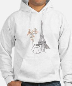 Eiffel Tower with Table and Blossom Tree in Pink H