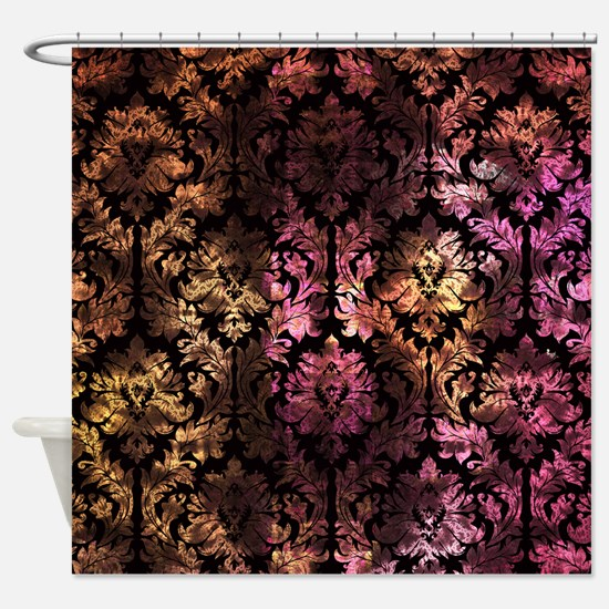pink and yellow shower curtain. Damask pattern on pink and yellow Shower Curtain Pink Yellow Curtains  CafePress