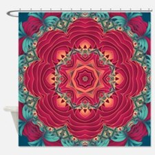 Red Lotus flower mandala Shower Curtain
